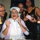 "1999: Erstes Kölner Tuckensammeltaxi zum Karneval, später ""TUXI – drive against Aids"", hier am Telefon Georg Roth alias Sister George."